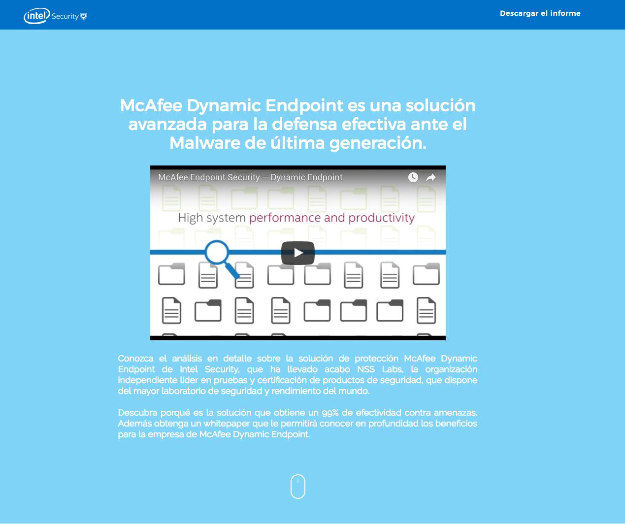 McAfee-Intel Landing page